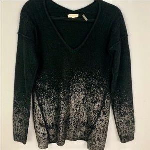 Rebecca Taylor black metallic  v neck sweater